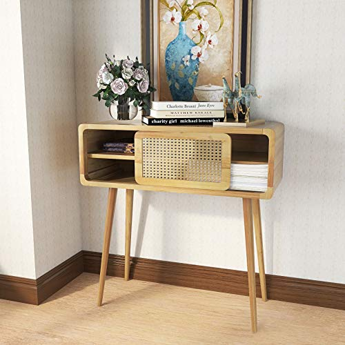 COZAYH Clean-Lined Sofa Table, Modern Minimalism Style Woven Shading Sliding Door Nightstand