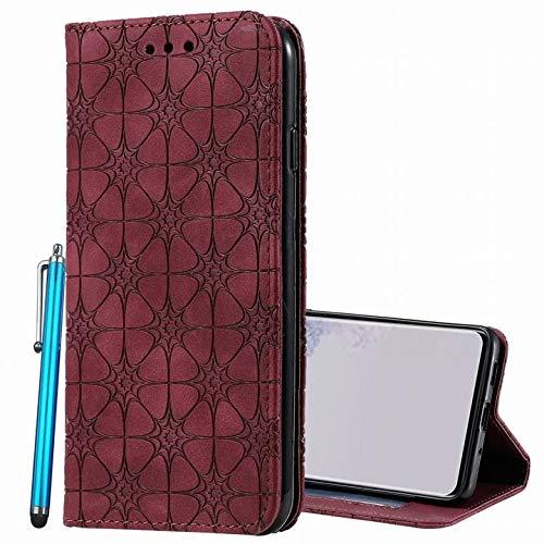 Yiizy ケース Xiaomi Redmi Note 9 Pro/Note 9S ケース 手帳型 ラッキーデイジー 蝶柄 花柄 エンボス Note 9 Pro/Note 9S カバー 手帳ケース オシャレ エクスペリア・エックスゼットケース (ワインレッド)