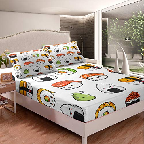 Sushi Pattern Bedding Set Japanese-Style Bed Sheet Set for Kids Boys Girls Teens Food Theme Fitted Sheet Cute Cartoon Japanese Sushi Bed Cover Room Decor Twin Size