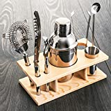 Fineway 10pc Bar Tool Jigger Strainer Bottle Opener Cocktail Shaker Maker Set with Wooden Stand - Ice Tongs, Beer and Wine Bottle Opener, Muddler – Ideal Christmas Gift