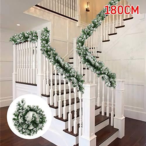 FullLove - Guirnalda de árbol de Navidad Artificial para decoración de Navidad con Nieve de 1,8 m para Escalera,...