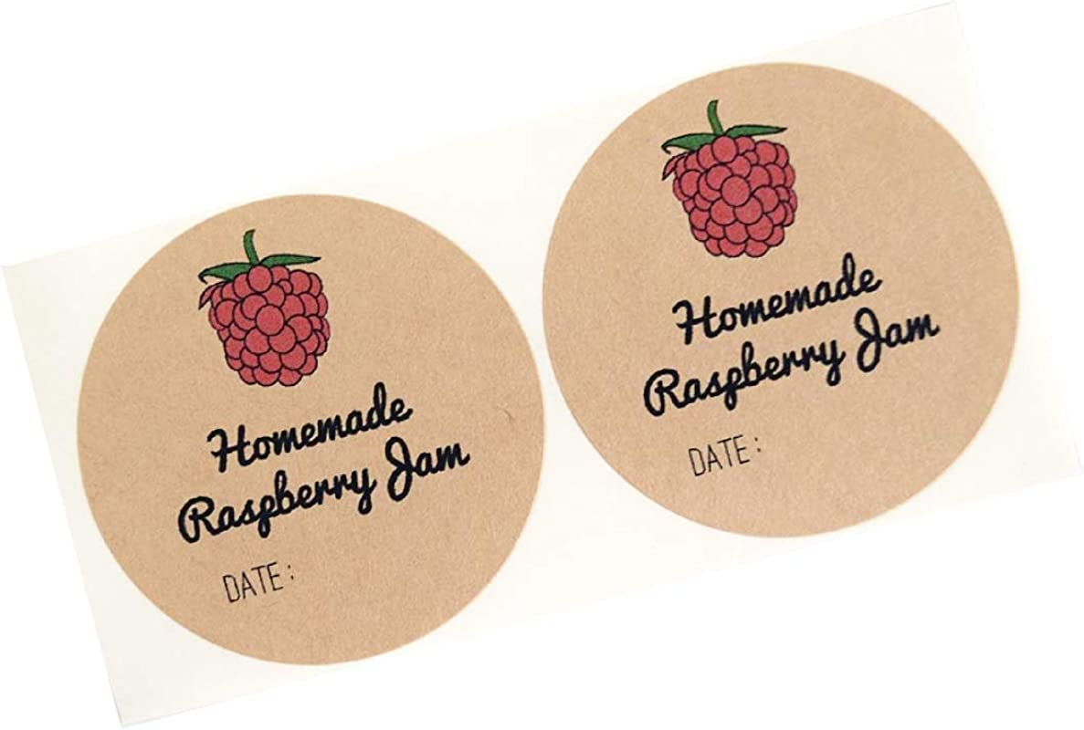 Homemade Raspberry Jam Jelly Mason Jar Labels By Once Upon Supplies Hoomemade Jam Labels Stickers 2 Inches For Regular Mouth Mason Jars 40 Pcs