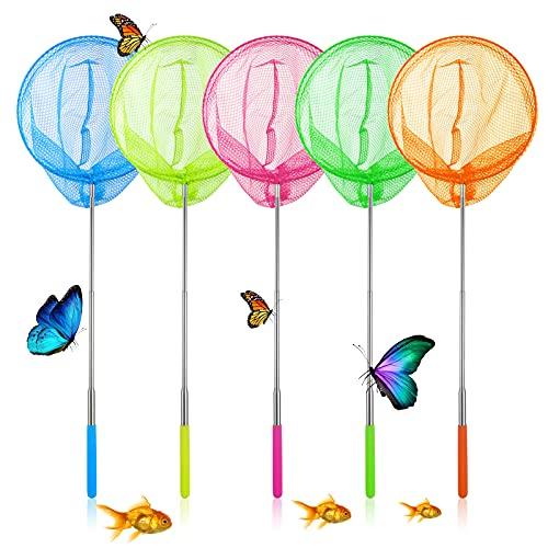 Supamz Schmetterling Net Kinder, 5 Stück Teleskop Kescher Kinder, Ausziehbar Schmetterlingsnetz Kinder Fangnetz Ideal zum Fangen von Insekten Bugs Fische Angeln Teich Garten Pool Outdoor Fischernetz