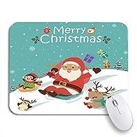 ECOMAOMI 可愛いマウスパッド 面白いヴィンテージクリスマス雪だるまサンタクロースエルフペンギン文字滑り止めゴムバッキングコンピュータマウスパッド用ノートブックマウスマット