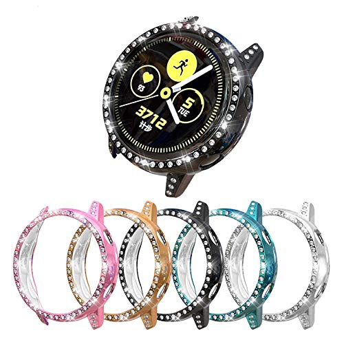 [5-Pack] Bling Protector Case Compatible with Samsung Galaxy Watch Active 1 40mm Cover, Stylish Crystal Diamonds Bumper Frame PC Plated Protective Shell Accessories (5 Colors, Active 40mm)