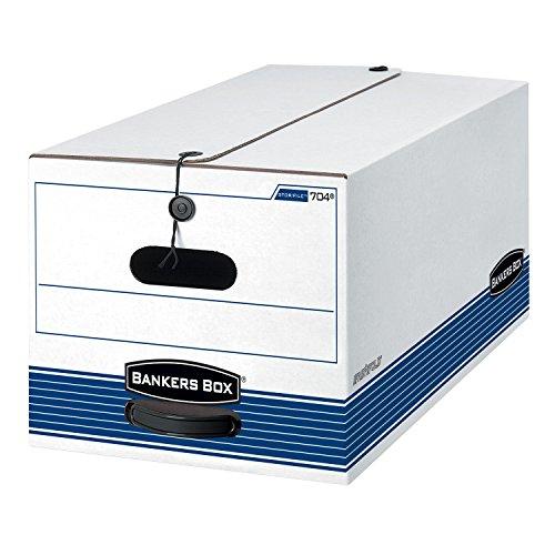Caja de Banqueros–STOR/caja de almacenamiento de archivo–carta–Botón Tie–Color blanco/azul 12/caja