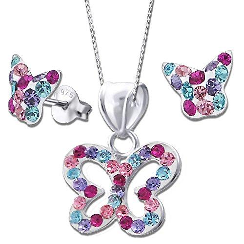 Mädchen Schmetterlinge Set Halskette mit Anhänger Ohrstecker echt 925 Sterling Silber mit Zirkonia Ohrringe K355+K356 40cm