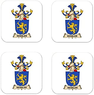 Kessler Dit Sprengseisen Family Crest Square Coasters Coat of Arms Coasters - Set of 4