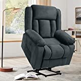 Electric Power Lift Recliner Chair for Elderly with Massage and Heat, Soft Velvet Motorized Recliner Sofa for Living Room with Massage Remote Control, 3 Positions, USB Port and 2 Side Pockets (Blue)
