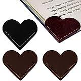 VETPW 4 Piezas Marcador de Cuero Hecho a Mano en Forma de Corazón, Marcadores de Libros de Lectura, Marcapáginas Clip de Página para Estudiantes Oficina Suministros de Lectura