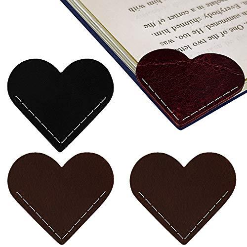 VETPW 4 Pezzi Segnalibro Cuore in Pelle Fatto a Mano, Leather Bookmarks Set, Marcatore Libro di Lettura Clip di Pagina per Studenti Ufficio Lettura di Articoli di Cancelleria