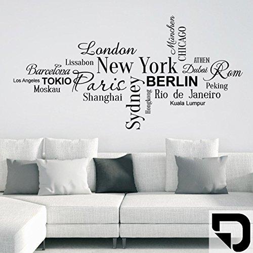 DESIGNSCAPE® Wandtattoo Weltstädte New York, Paris, Tokio, London, Paris, Berlin. 80 x 40 cm (Breite x Höhe) schwarz DW806046-S-F4