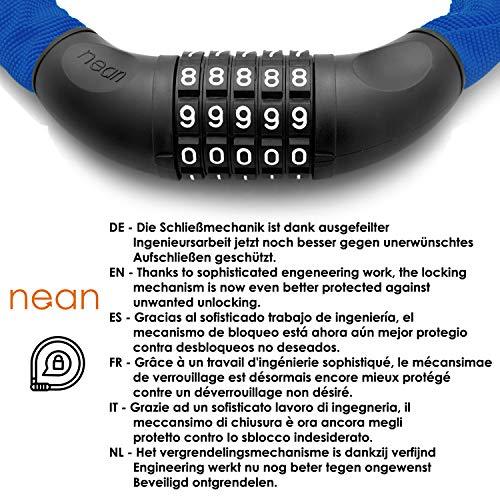 nean Fahrradschloss mit Zahlen und hoher Sicherheitsstufe, Fahrrad-Ketten-Schloss, Zahlen-Code-Kombination-Schloss, gehärtete Stahlkettenglieder, 6 mm x 900 mm, Blau - 4