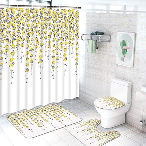 TAMOC 4 Pcs Weeping Flower Shower Curtain Set with Non-Slip Rug, Toilet Lid Cover and Bath Mat, Floral Vine Shower Curtain with 12 Hooks Cute Yellow and Grey Flower Bathroom Curtain, White