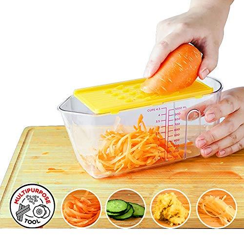 YQQWN Gemüsehacker Slicer Dicer - 6-In-1 Obst Cutter Slicer Mandolinist Nahrungsmittelzerhacker/Cutter mit 4 Klingen aus rostfreiem Stahl, mit Vorratsbehälter