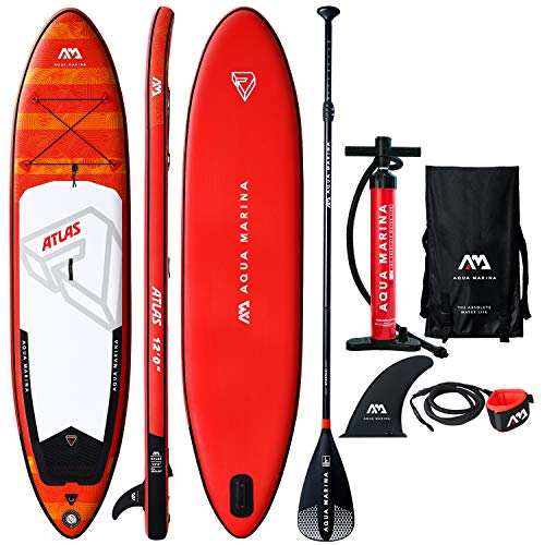 """12' Inflatable Stand Up Paddle Board 6"""" Thick Aqua Marina Atlas SUP with Double Action Pump, Magic Backpack, Slide-in Center Fin, Sports III Paddle and Safety Leash"""