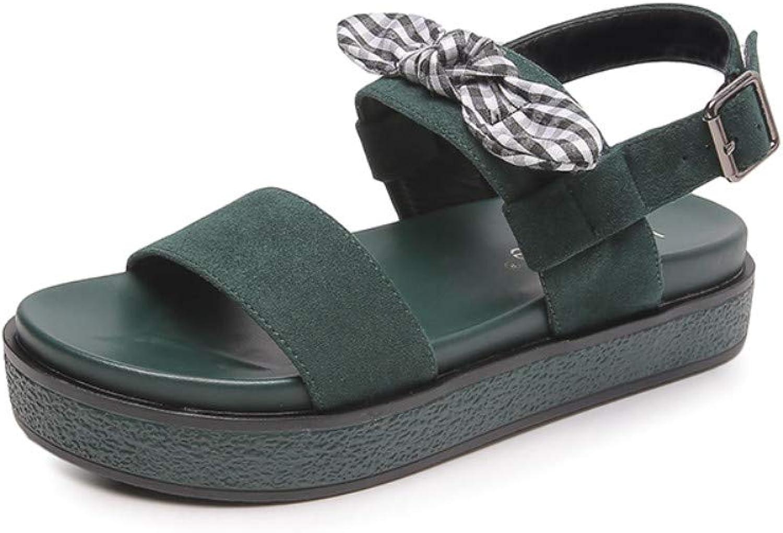 Women's Sandals, Bowknot Retro Muffin Platform Large Size Flat Roman shoes,Bohemian Open Toe Harajuku Sandals,Beach shoes for Vacation