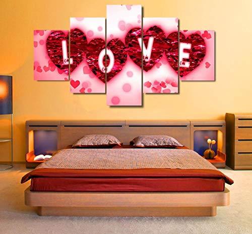 HKDGHTHJ Mural de pintura decorativa para oficina 200x100cm Rojo amor flores Carteles imprime 5 piezas de lienzo moderno cuadros modulares para decoración de sala de estar