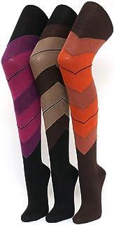 Shimasocks Damen Strumpfhose diagonal geringelt - braun orange pink- Muster, gekämmte Baumwolle auch separat als 3er Pack erhältlich