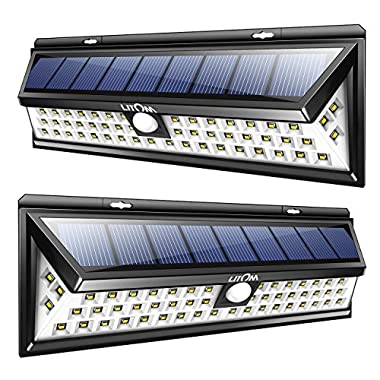 LITOM Solar Lights Outdoor, 54 LED Super Bright 270°Wide Angle Motion Sensor Lights, Wireless Waterproof Security Solar Light for Front Door, Yard, Garage, Deck, Porch, Shed, Walkway, Fence (2 Pack)