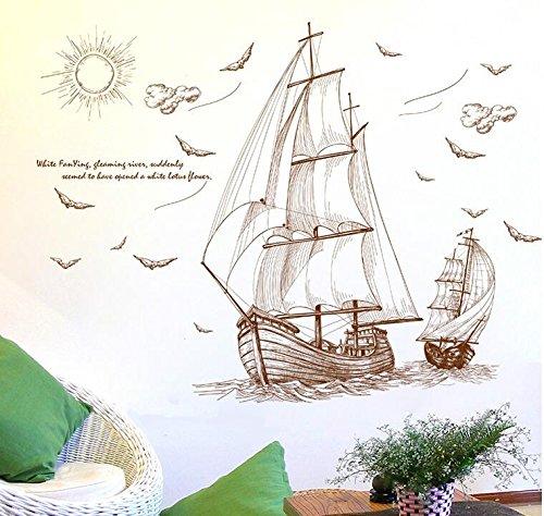 HALLOBO® Wandtattoo Wandaufkleber Segel Segelschiff Segelboot Seefahrt Wand Sticker Deco Wohnzimmer Schlafzimmer Kinderzimmer Küche usw.
