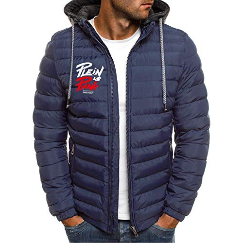 Daunenmantel Herren Winter Kapuzenjacke Warm Down Hoodie Softshell-Jacke Packable Light Top Steppjacke Baumwollmantel, Dunkelblau, S