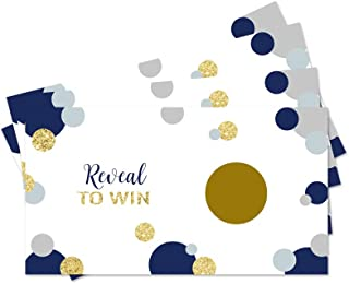 Abstract Dot Scratch Off Party Game Cards (28 Pack) Navy and Gold Boys Baby Shower, Birthday, Celebration Raffles