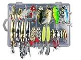 JasCherry Metal Fishing Lures Spinner Köder Fisch Drillinge Haken Forellenbarsch Lachs, ideal für Süßwasser und Salzwasser