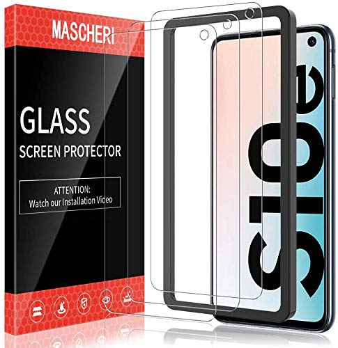MASCHERI 3 Pièces Verre Trempé Compatible pour Samsung Galaxy S10e Protection d'écran Cadre de positionnement Verre Trempe Protégé écran Film ecran de Protection écran Compatible pour Samsung S10e