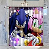 Sonic The Hedgehog Shower Curtain with Hooks Resistant Stall Curtains for Master Bathroom, Kid's Bathroom, Guest Bathroom 72x72inch(183x183cm)