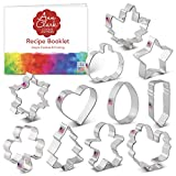 Ann Clark Cookie Cutters 11-Piece Every Season Cookie Cutter Set with Recipe Booklet, Pumpkin, Turkey, Star, Shamrock, Easter Egg, Gingerbread Man and More