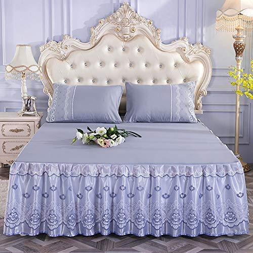 Spitze Bett Rock, Bett Volant Bestickt Tagesdecke Mit rüschen Hotel qualität Faltenresistent und ausbleichen beständig-grau 200x220cm/79x87inch
