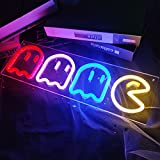 Ajoyferris Ghost Neon Signs Neon Lights Pac Man Led Sign Retro Decor Arcade for Game Room Decor with USB/Swicth Led Wall Sign Neon Sign for Bedroom Kids Room Bar Halloween Party Christmas 16''x 6''