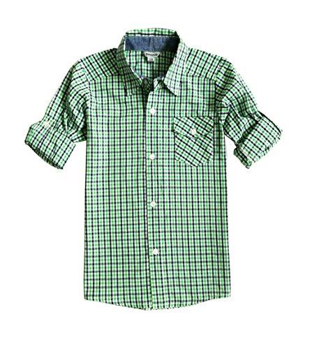 Bienzoe Jungen Baumwolle Plaid Knopf Unten Hemd Grün Größe 9/10