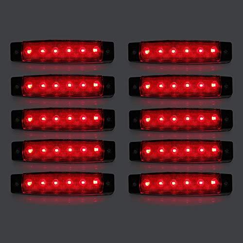 LED-Seitenmarkierungsleuchten, 10 Stücke 24V LED Lkw Seitenlichter 6 SMD LED Seitenmarkierungs-kontrollleuchte Vorne Hinten Seitenlicht Positionslampen für Auto (Rot)