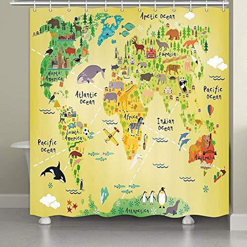 MERCHR Cartoon-Tier-Weltkarte Duschvorhang Kinder Geographie Welt pädagogisch Kinder Wald Ozean Blau Bunte Duschvorhänge Wasserdicht Stoff Badezimmer Dekor mit Haken 174 x 178 cm