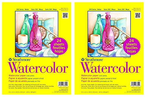 2-Pack - Strathmore 361-9 - 300 Series Watercolor, 9'x12', Cold Press, 24 Sheets per Class Pack