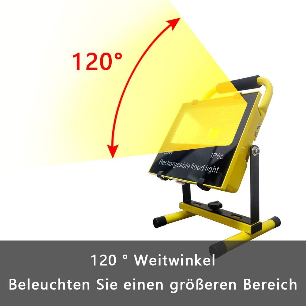 Autoreparatur 10W Warmwei/ß Baustrahler LED AKKU Gelb Fluter Campinglampe Nachtfischen Handlampen wiederaufladbar Flutlicht Arbeitsleuchte Tragbare Werkstattlampen Baustellen Strahler f/ür Arbeit
