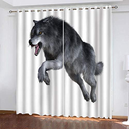 MENGBB Cortina Opaca Microfibra Infantil 280x260cm Lobo Animal Negro 95% Opaca Cortina aislantes de frío y Calor Decorativa con Ojales Estilo para Salón Habitación y Dormitorio