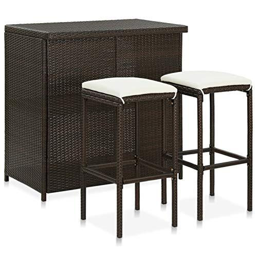 Tidyard Set Mesa y sillas de Bar jardín 3 Piezas Muebles de Jardin Exterior Conjuntos ratán sintético marrón