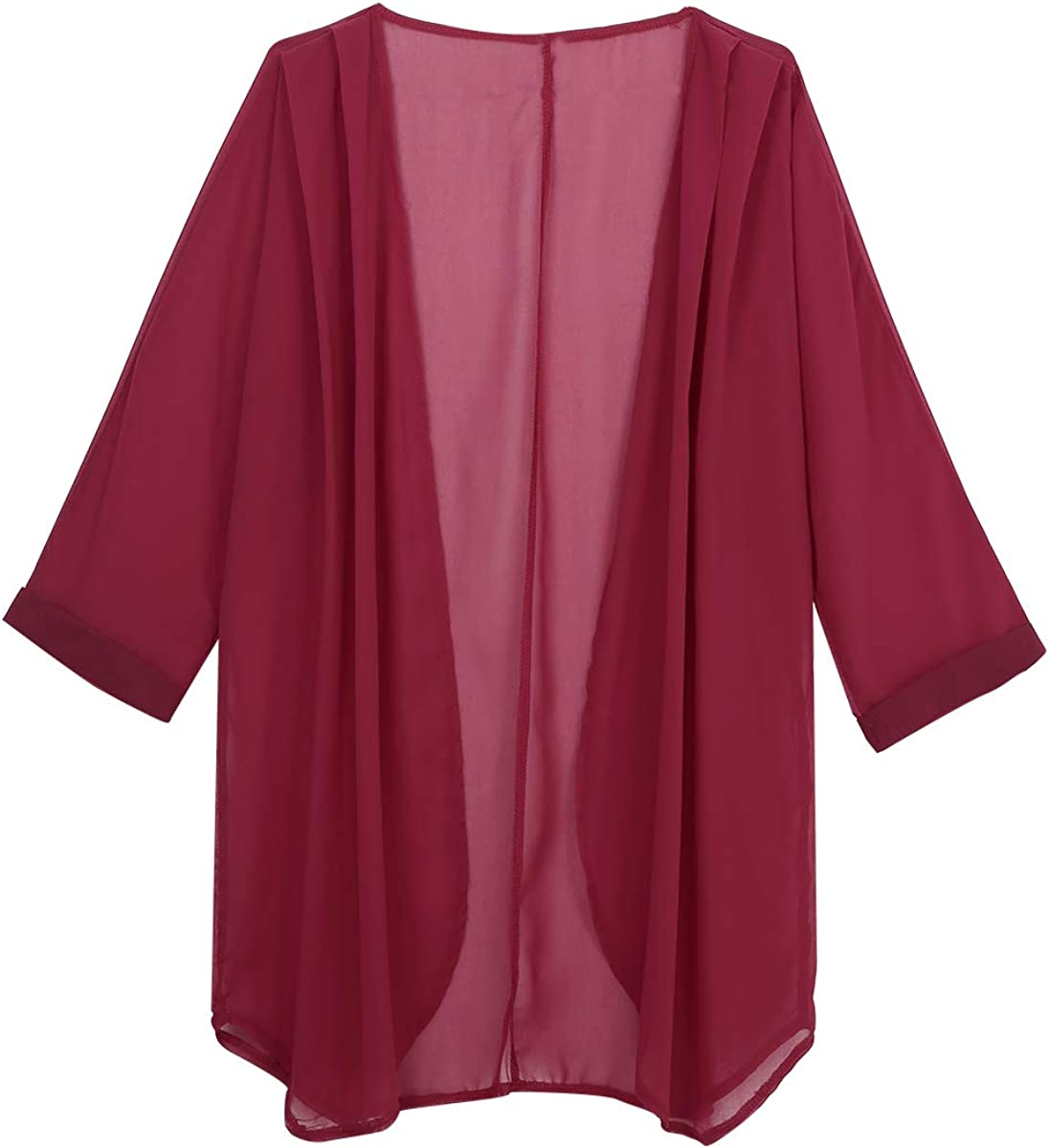 YiZYiF Women's 3/4 Sleeve Open Front Sheer Chiffon Long Cardigan Bolero Shrug Jackets