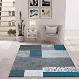 VIMODA Designer Moderner WohnzimmerTeppich in Türkis, Grau und Weiß mit Kachel Optik Kurzflor, Maße:60x110 cm - 2