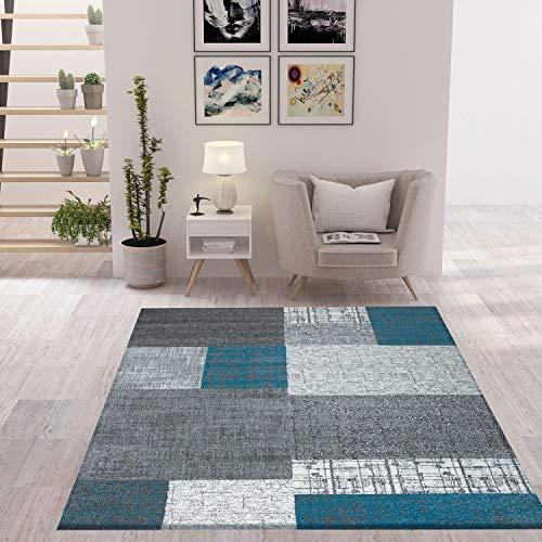 VIMODA Designer Moderner WohnzimmerTeppich in Türkis, Grau und Weiß mit Kachel Optik Kurzflor, Maße:120x170 cm