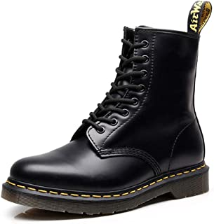 Dr. Martin Leather Boots Smooth Boat Safety Stee Shoes Platform Lace-up Boot Smooth Black Combat Boot,Mid Calf Combat Boot Round Locomotive Hiking lace Boots Unisex Adults' Ankle Boots
