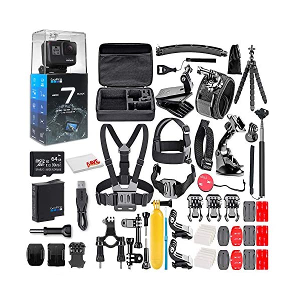 GoPro HERO7 Black – Waterproof Action Camera with Touch Screen, 4K HD Video, 12MP Photos, Live Streaming and Stabilization – with 64GB Micro Sd Card and 50 Piece Accessory Kit Loaded Bundle (Renewed)