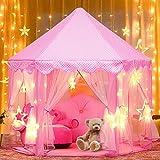 Tente de Jeu Enfant, joylink Tente Princesse Château de Intérieur & Extérieur Tente Enfants de Jeu Jouet Fille Pliable de Tente avec LED Star Light , Rose