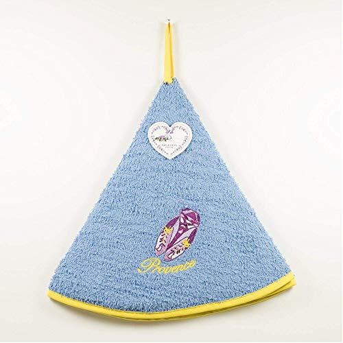 Torchon Essuie Mains Cigale - Rond avec Attache - Bleu - Motifs Brodés - 100% Coton - Ø 65 cm de diamètre - Cuisine ou Salle de Bain