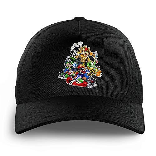 OKIWOKI Mario Kart Lustiges Schwarz Kinder Kappe - Bowser, Mario, Luigi und Yoshi (Mario Kart Parodie signiert Hochwertiges Kappe - Einheitsgröße - Ref : 785)