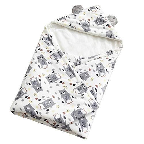 Neugeborenes Baby Kapuzen Wickeln Swaddle Decke Schlafsack für 0-12 Monat Baby 75 x 75cm(Kleiner Grizzly,Grau)