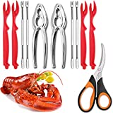 11-piece Seafood Tools Set includes 2 Crab Crackers, 4 Lobster Shellers, 4 Crab Leg Forks/Picks and 1 Seafood Scissors - Nut Cracker Set